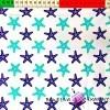 Bawełna Rozgwiazdy turkusowo granatowe na białym tle