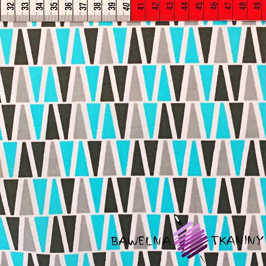 Bawełna Trójkąty szaro błękitne