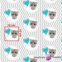 Bawełna kotki z turkusowym balonikiem na biało szarym zygzakowym tle