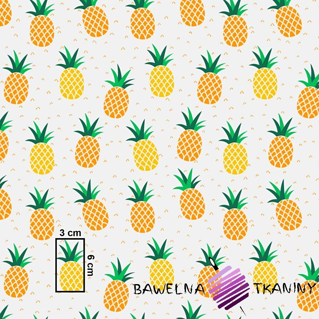 Bawełna ananasy żółto pomarańczowe na szarym tle