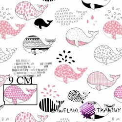 Cotton gray & blue whales on white background