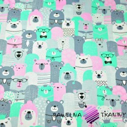 Cotton gray, pink, mint bears in the cinema