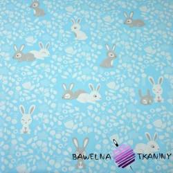 Bawełna króliki biało szare na niebieskim tle