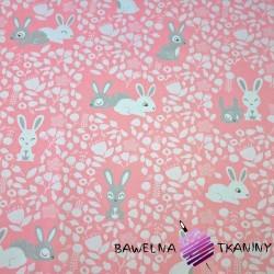 Bawełna króliki biało szare na różowym tle