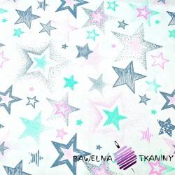 Bawełna Gwiazdki wzorzyste szaro różowo miętowe na białym tle