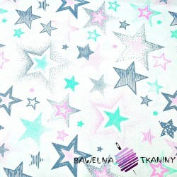 Cotton Stars patterned gray and pink mint on a white background