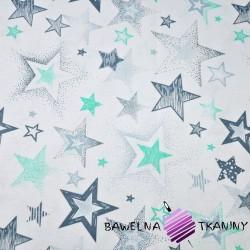 Bawełna Gwiazdki wzorzyste szaro miętowe na białym tle