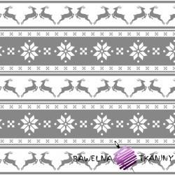 Bawełna wzór świąteczny małe renifery w pasach na szarym tle