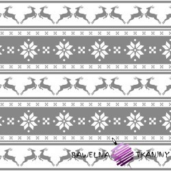 Cotton Christmas pattern small gray reindeers with lines