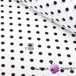 Bawełna groszki 7mm czarne na białym tle