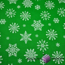 Bawełna śnieżynki duże białe na zielonym tle
