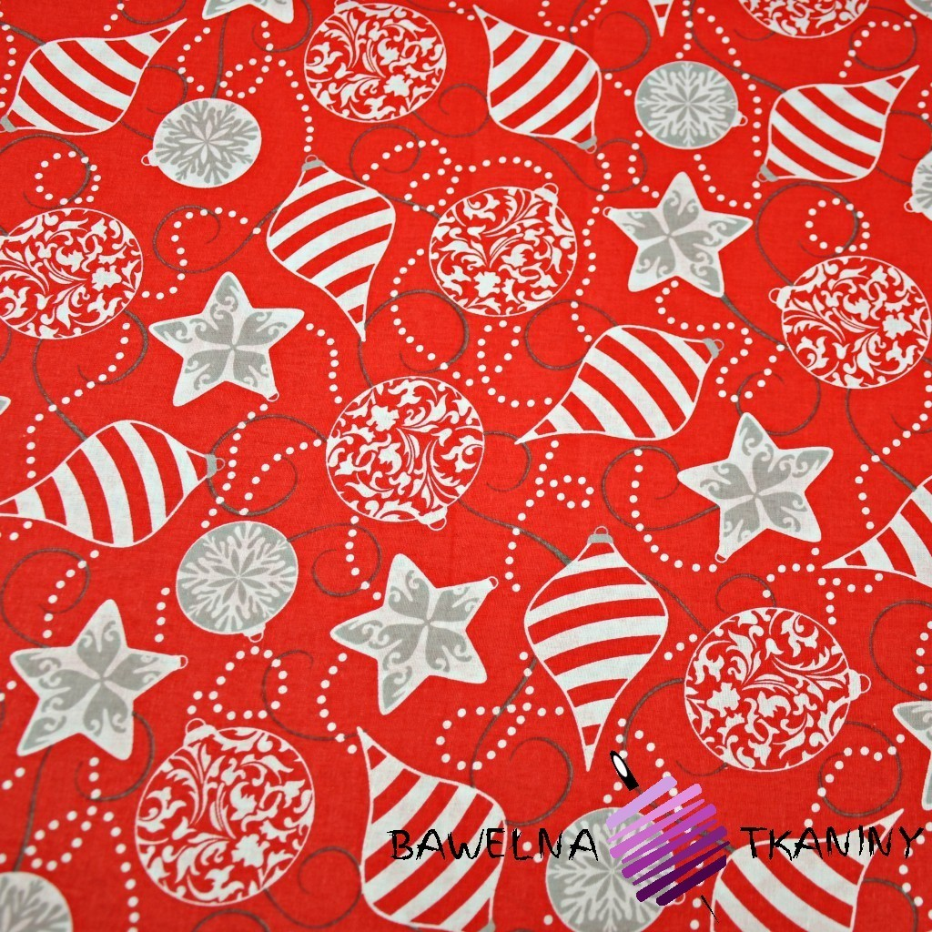 Cotton pattern Christmas gray baubles on a red background