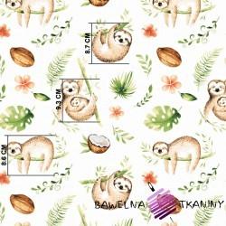 Bawełna leniwce beżowo zielone na białym tle