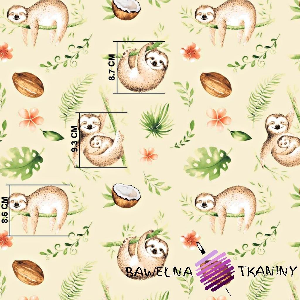 Bawełna leniwce beżowo zielone na ecru tle