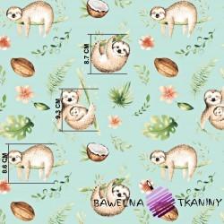 Bawełna leniwce beżowo zielone na miętowym tle