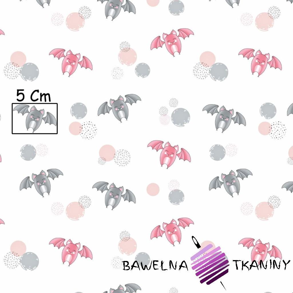 Bawełna nietoperze szaro różowe na białym tle