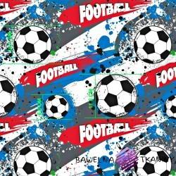 Bawełna Piłka nożna niebiesko szaro czerwona na białym tle