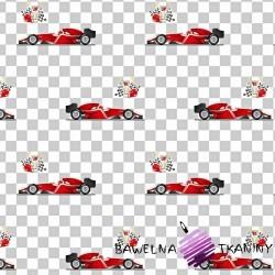Bawełna samochody F1 czerwone na biało szarej kracie