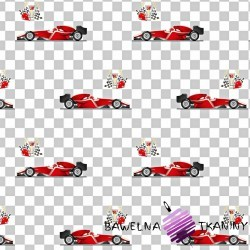 Cotton F1 red cars on a white gray checkered