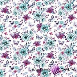 Bawełna kwiaty z motylkami miętowo fioletowe na białym te