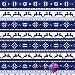 Bawełna wzór świąteczny małe renifery w pasach na granatowym tle