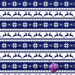Cotton Christmas pattern small navy reindeers with lines