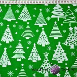Bawełna Wzór świąteczny choinki z bombkami na zielonym tle