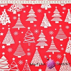 Bawełna Wzór świąteczny choinki z bombkami na czerwonym tle