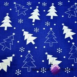 Bawełna Wzór świąteczny choinki białe na granatowym tle