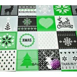 Wzór świąteczny patchwork szaro zielony