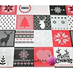 Bawełna Wzór świąteczny patchwork szaro czerwony