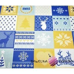 Bawełna Wzór świąteczny patchwork niebiesko beżowy