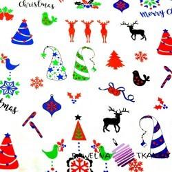 Bawełna Wzór świąteczny kolorowy na białym tle