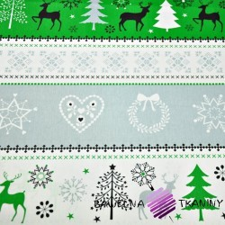 Bawełna Wzór świąteczny sweter szaro zielony na białym tle