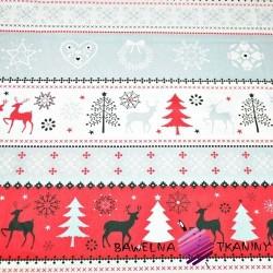 Bawełna Wzór świąteczny sweter szaro czerwony na białym tle