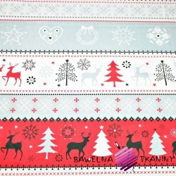 Cotton Christmas gray-red pattern on white background