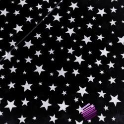 Bawełna gwiazdki nowe małe i duże białe na czarnym tle