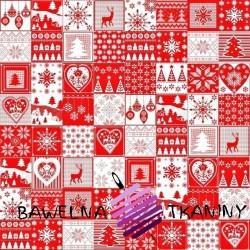 Wzór świąteczny patchwork drobny biało czerwony