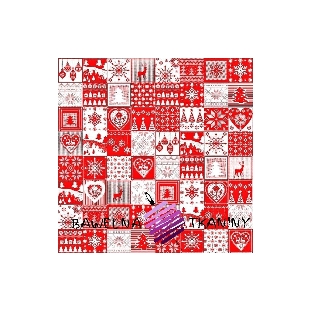 Bawełna Wzór świąteczny patchwork drobny biało czerwony
