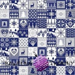Wzór świąteczny patchwork drobny biało granatowy