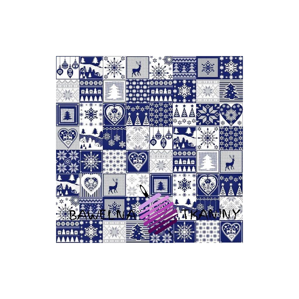 Bawełna Wzór świąteczny patchwork drobny biało granatowy