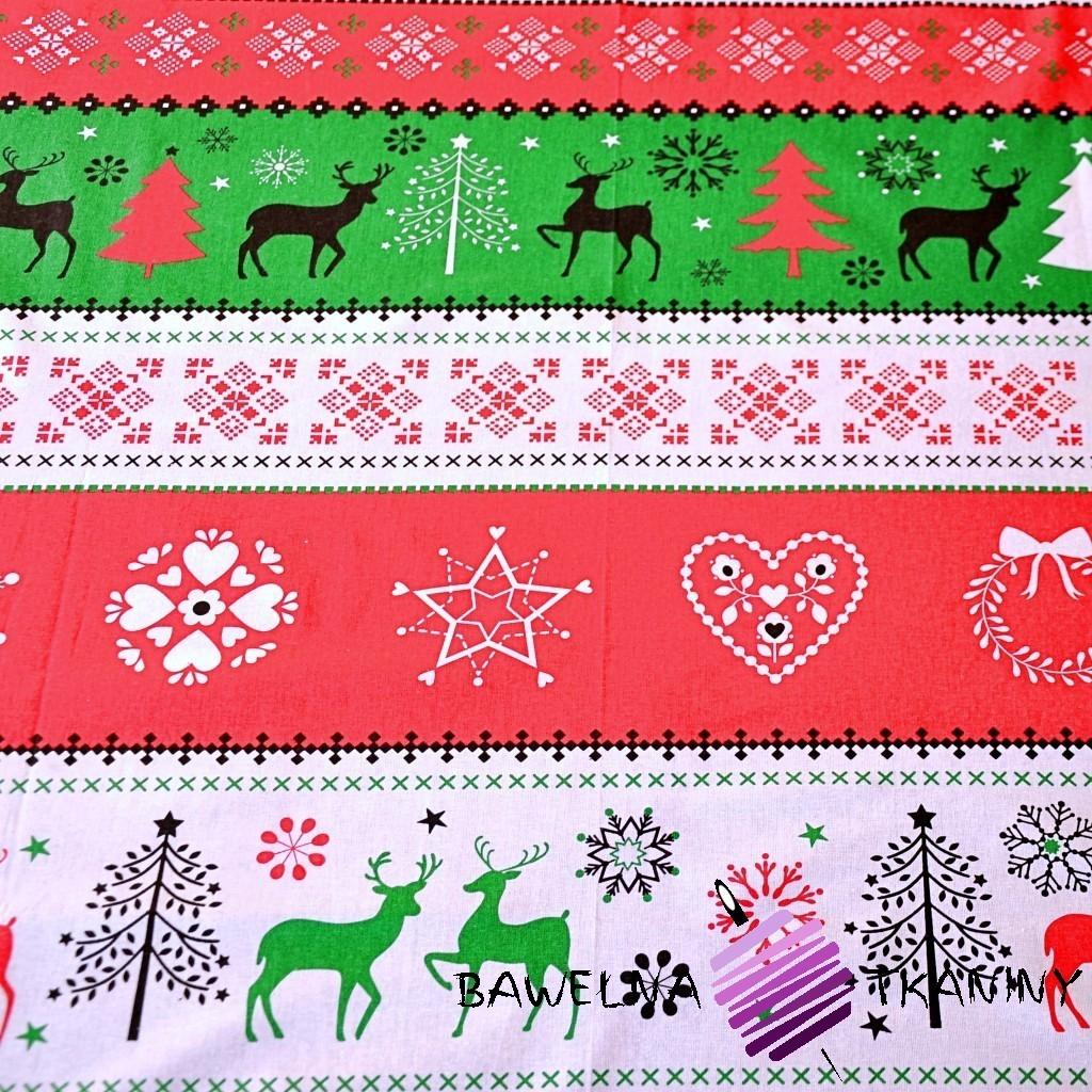 Bawełna Wzór świąteczny sweter zielono czerwony na białym tle