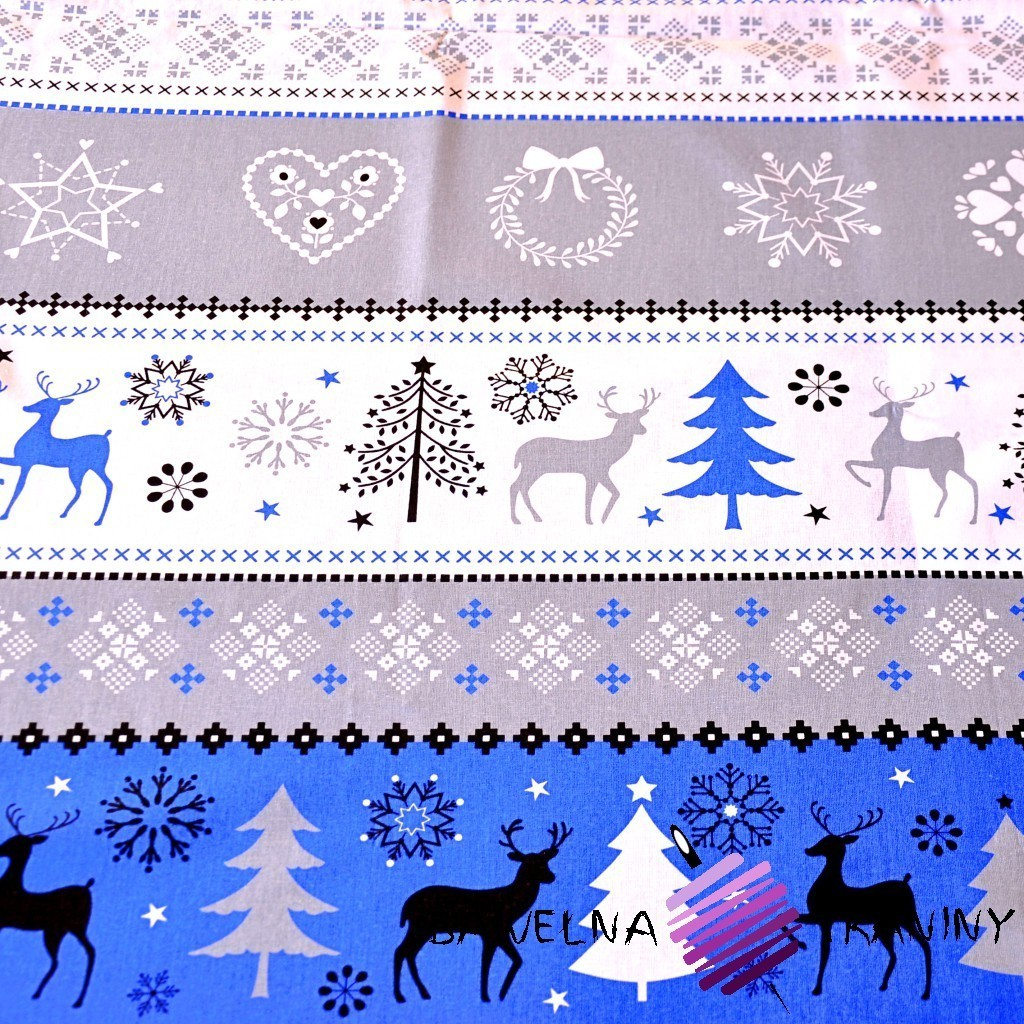 Cotton Christmas gray-blue pattern on white background