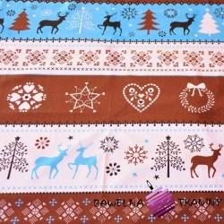 Bawełna Wzór świąteczny sweter niebiesko brązowy na białym tle