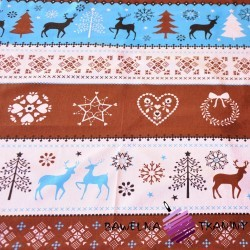 Cotton Christmas brown-blue pattern on white background