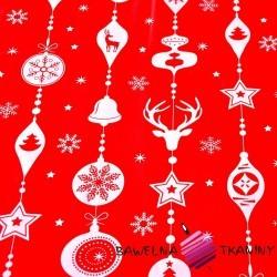 Bawełna wzór świąteczny sznur z bombek białe na czerwonym tle