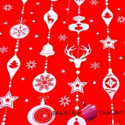 Cotton Christmas pattern with red baubles on a red background