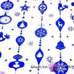 Cotton Christmas pattern with blue baubles on a white background