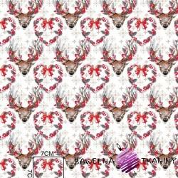 Bawełna wzór świąteczny renifery szare na białym tle