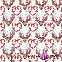Cotton Gray Christmas reindeer on a white background